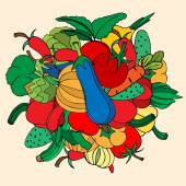 Set of hand drawn vegetables. Doodles, vector illustration. Isol