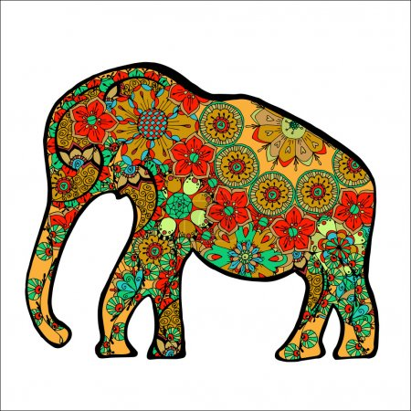 Illustration for The cheerful elephant. The silhouette of the elephant collected from various elements of a flower ornament. - Royalty Free Image