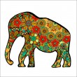 The cheerful elephant. The silhouette of the eleph...
