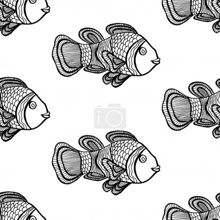 Illustration for Anemonefish (Clownfish) monochrome seamless vector pattern - Royalty Free Image