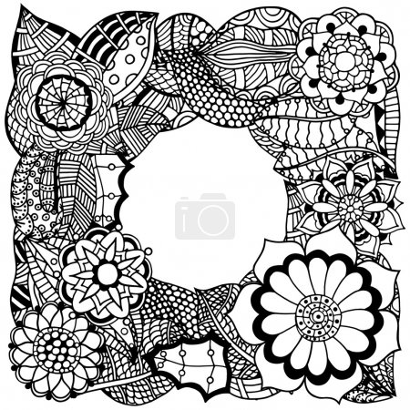 Ethnic floral zentangle