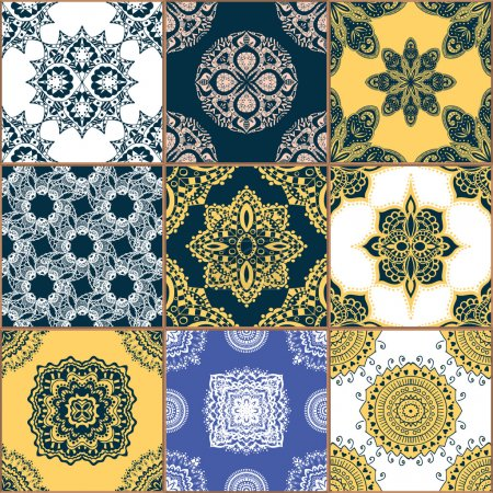 Illustration for Gorgeous seamless pattern white colorful Moroccan, Portuguese tiles, Azulejo, ornaments. Can be used for wallpaper, pattern fills, web page background,surface textures. - Royalty Free Image