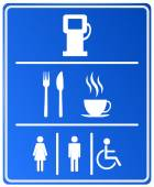 Blue Petrol Station Icon with gas station food coffee cup and wc