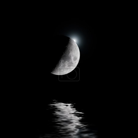 Backlit moon with white star over water