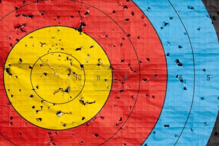 Used archery target close up