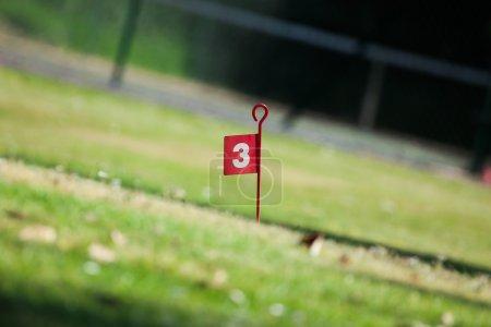 Photo pour Terrain de golf trou trois drapeau, vu d'un angle bas et faible profondeur de champ - image libre de droit