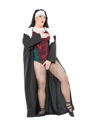 Actor Drag Queen Dressed as Nun, on white backgrou...
