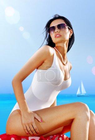 sexy woman in white wear on beach