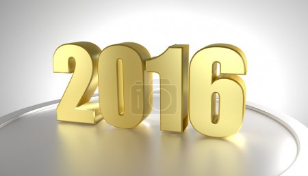 Photo for Happy new year 2016. 3D golden numbers. Render - Royalty Free Image