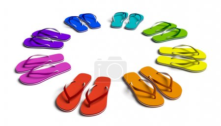 Photo for Rainbow flip flops in the circle. Isolated on the white. - Royalty Free Image