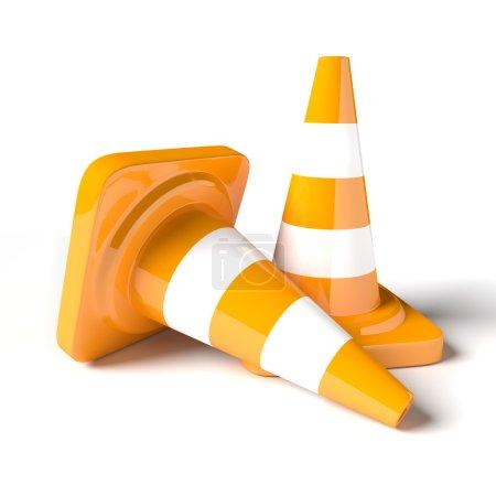 Photo pour Cône de circulation sur le fond blanc. Image rendue 3D . - image libre de droit