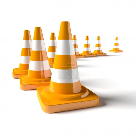 Photo for Traffic cone on the white background. 3D rendered image. - Royalty Free Image