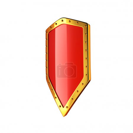 Gold and red glossy shield isolated on white