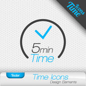 Time icon on the gray background 5 minutes symbol Vector design elements