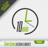 Time icon on the gray background 10 minutes symbol Vector design elements