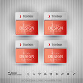 Glossy business stickers on the gray background Vector design elements for infographics
