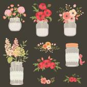 Flower in mason jars