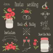 Rustic wedding design elements with poppy flowers