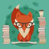 Education concept Fox in glasses with many books