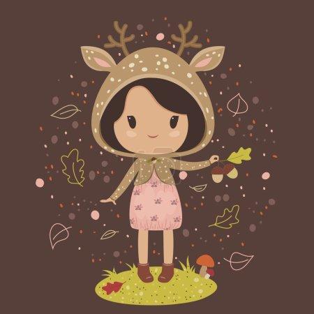 Petite fille en costume de cerf