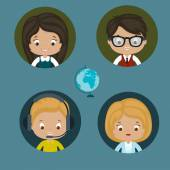 Help center women and men vector icons Eps 10