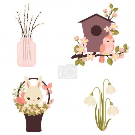Spring icons. Flowers and animals. Four vector illustrations. Ep