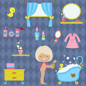 Little girl bathroom time Vector icons collection
