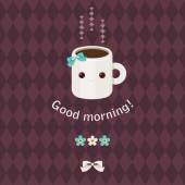 Good morning beautiful greeting card Adorable coffee cup character greeting text flowers and bow