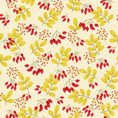 Wild roses berries and yellow leaves seamless pattern
