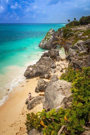 Idyllic Caribbean beach at the Mayan ruins temple of Tulum