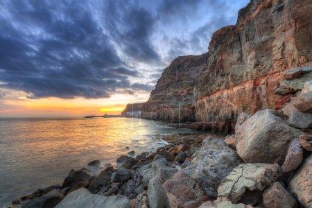 Sunset over atlantic ocean at Gran Canaria island