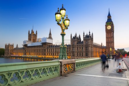 Photo for Big Ben and Westminster Bridge in London at dusk, UK - Royalty Free Image