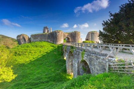 Ruins of the Corfe castle in County Dorset