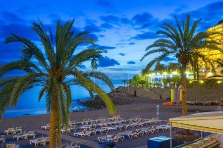 Promenade to the beach in Taurito at dusk, Gran Canaria