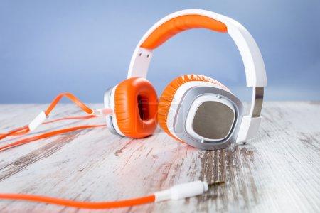 Music headphones on the desk