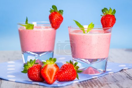 Glasses of strawberry smoothie
