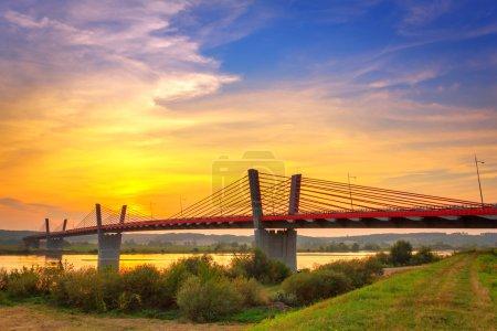 Cable stayed bridge over Vistula river