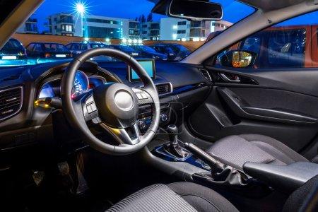 Black, sport car interior...
