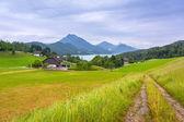 """Постер, картина, фотообои """"пейзажи маленькой деревне в горах Альп"""""""