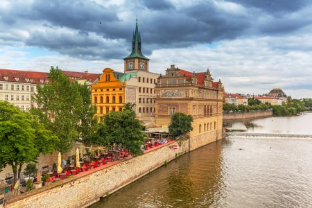 Old town of Prague at Vltava river
