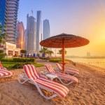 Sunrise on the beach at Perian Gulf in Abu Dhabi...