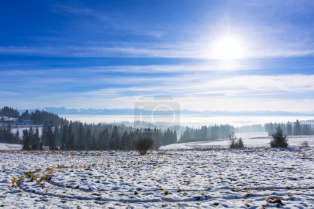 Panorama of Tatra mountains at winter time