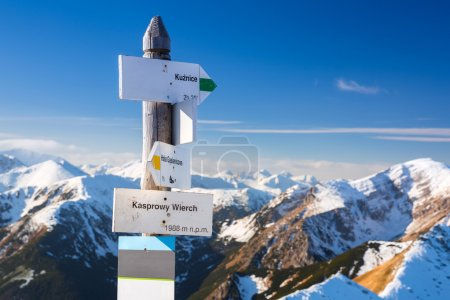 Tatra mountains signpost on Kasprowy Wierch