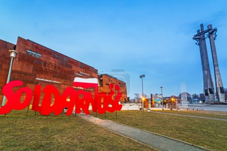 Solidarnosc sign under European Solidarity Centre in Gdansk