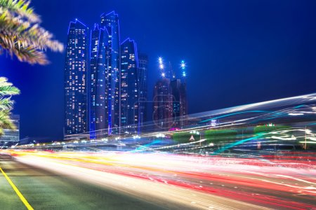 Traffic lights on the street of Abu Dhabi at night