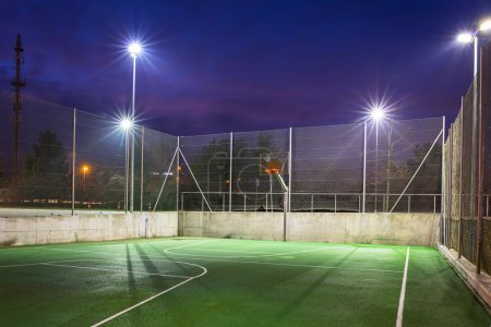 Basketball court at dusk