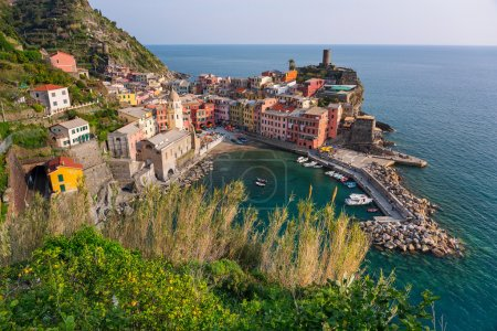 Vernazza town on the coast of Ligurian Sea