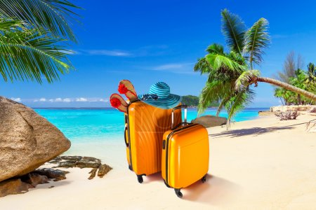 Photo for Summer holidays with baggages on the tropical beach - Royalty Free Image