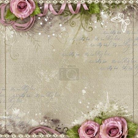 Photo pour Fond vintage avec des roses violettes, dentelle, ruban - image libre de droit