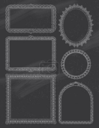 Illustration for Ornate Frames on a chalkboard background. EPS 10. Transparencies. Two Layers. - Royalty Free Image